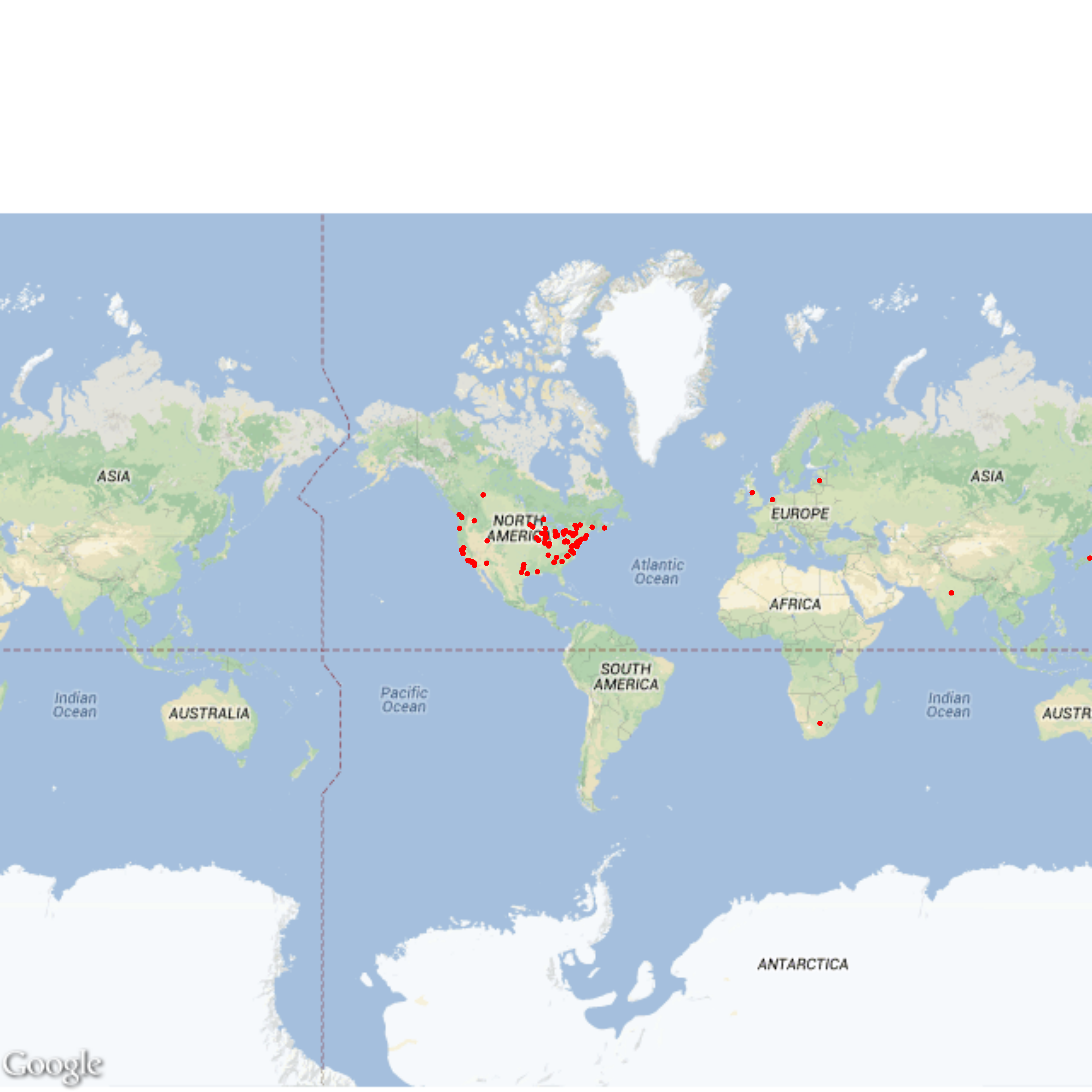 HASTAC Scholars And The Geography Of Topics HASTAC - Google map america east coast